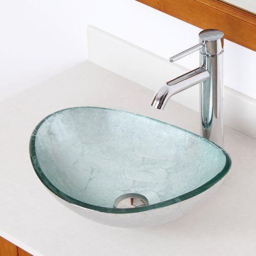 ELITE Unique Oval Silver Tempered Glass Bathroom Vessel S