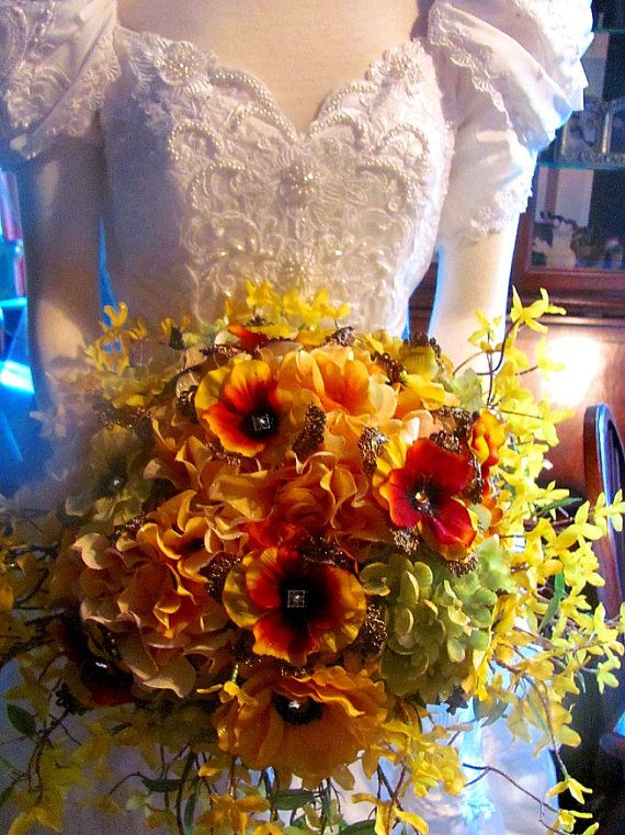 Yellow Amber Pansies and Vintage Lace Bouquet  2 by whiteriver51, $345.00