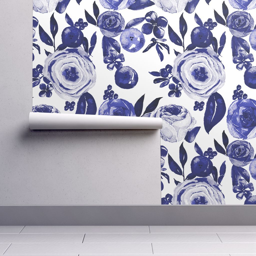 Wallpaper Blue And White Floral Watercolor Blue And White Wallpaper Pattern Wallpaper Spoonflower Wallpaper