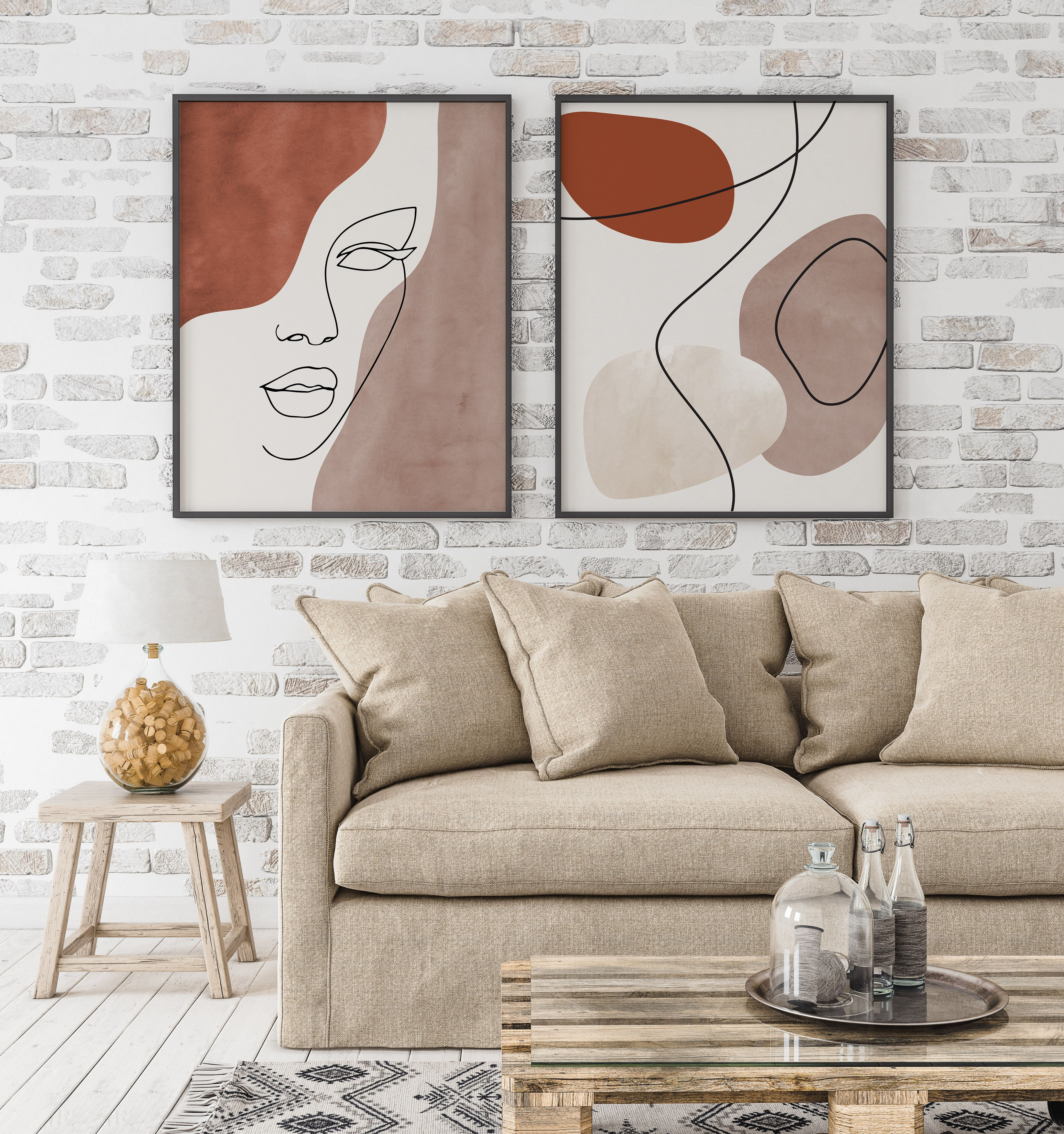 Abstract Face Line Art Print Set of 2, Woman Face Line Drawing
