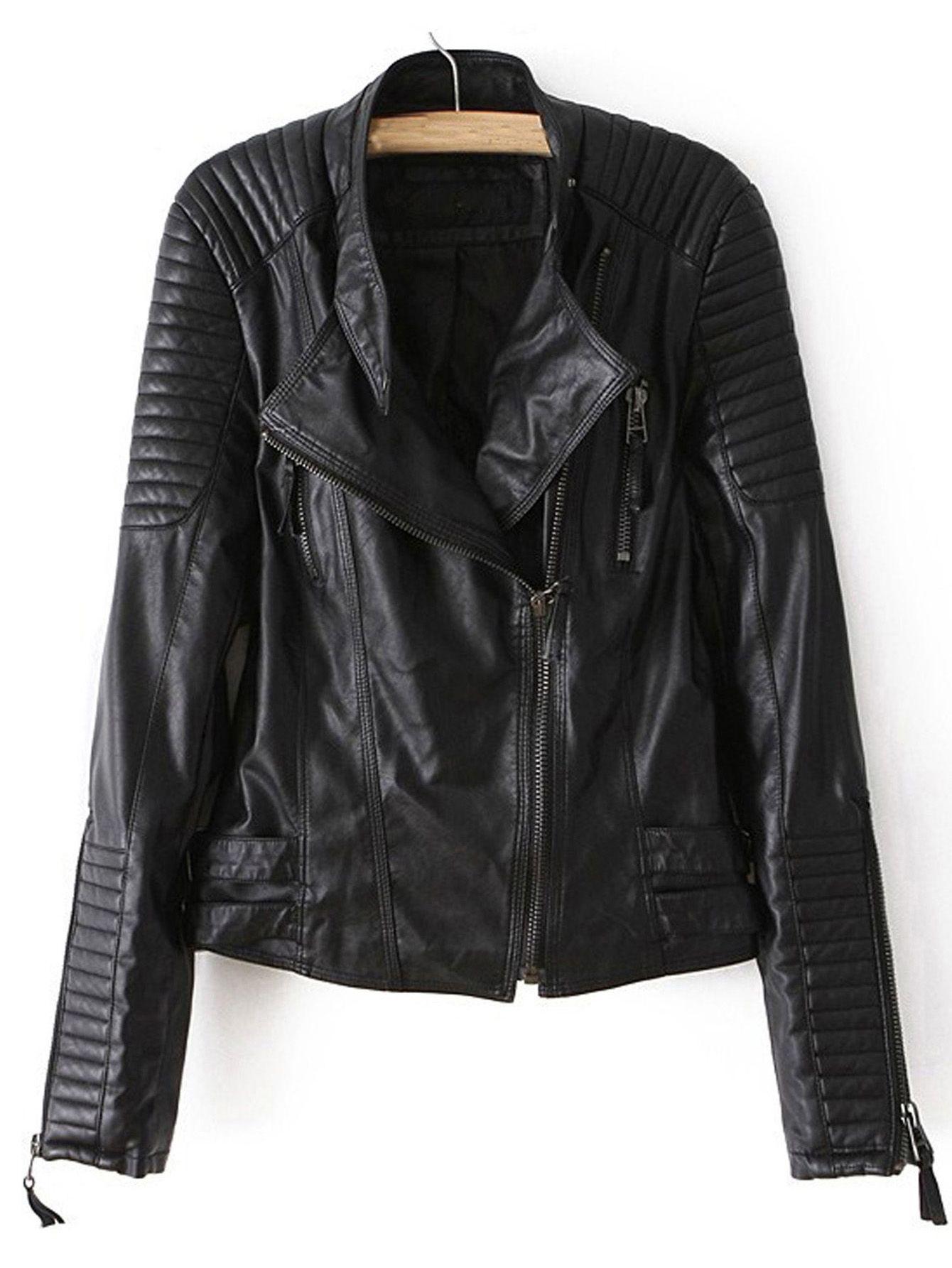 Shop Black Long Sleeve Zipper PU Leather Jacket online