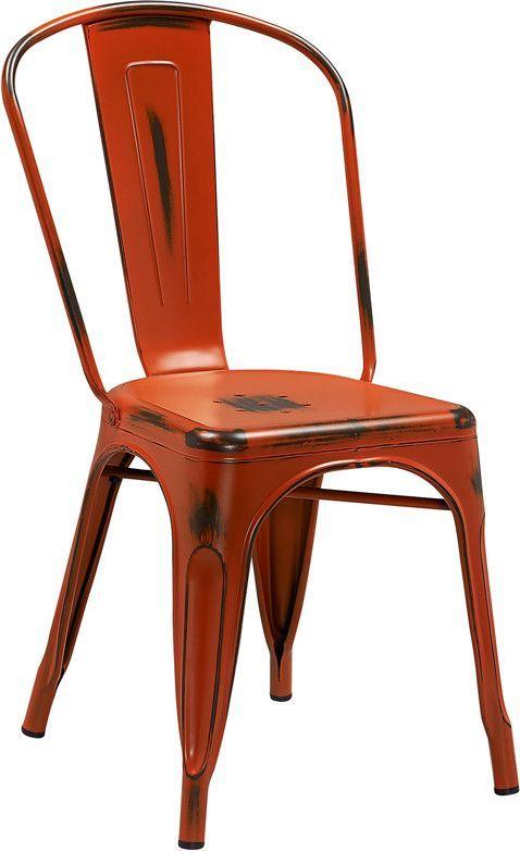 Flash Furniture Distressed Orange Metal Indoor Stackable Chair