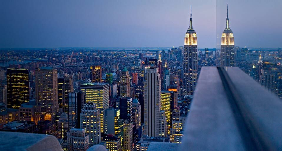 View Of The Empire State Building From The Top Of The Rockefeller Center New York Usa Travel South Empire State Of Mind Surfing