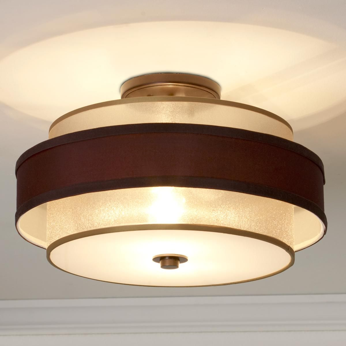 Gold Bronze Sheer Double Shade Flush Mount A Chocolate Brown Silky