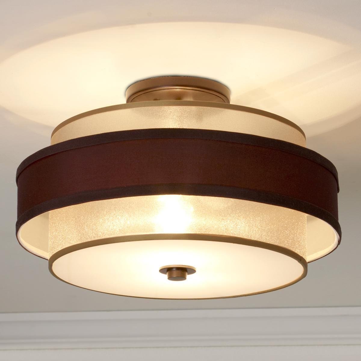 Gold Bronze Sheer Double Shade Flush Mount Shades Of Light Ceiling Lights Flush Mount Ceiling Lights Light