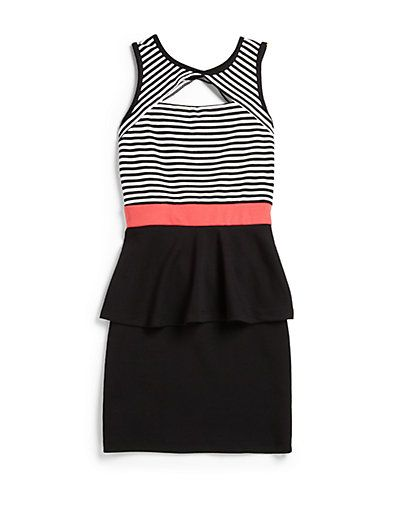 Sally Miller - Girl's Striped Peek-A-Boo Peplum Dress - Saks.com #sallymiller