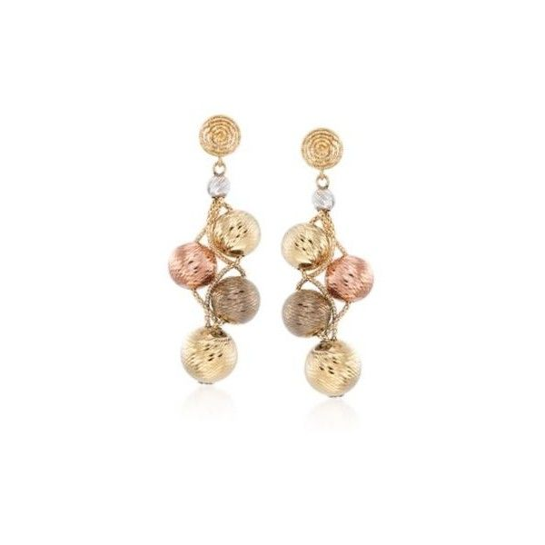 Ross-Simons Italian 14kt Multi-Toned Gold Bead Earrings. 2 1/2 inches (82.520 RUB) ❤ liked on Polyvore featuring jewelry, earrings, chain earrings, chains jewelry, beaded jewelry, rose jewellery and earring jewelry