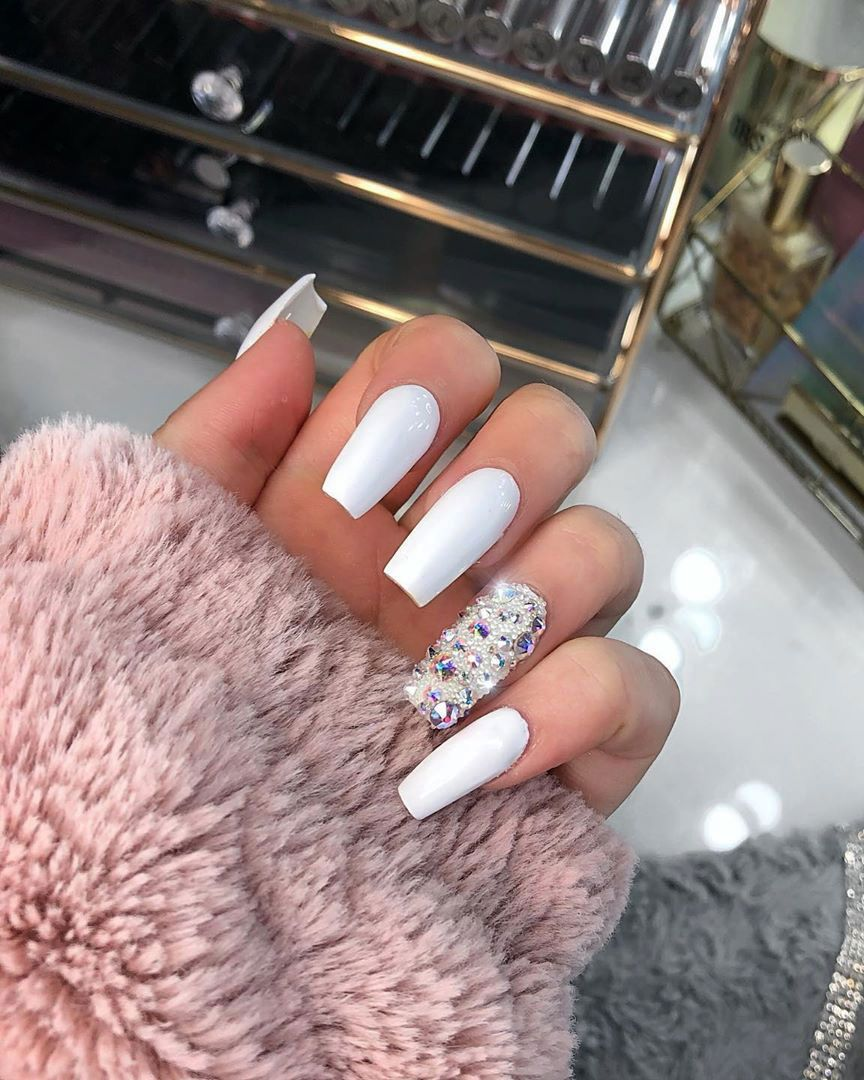 120 Best Coffin Nails Ideas That Suit Everyone Coffin Shape Nails Rhinestone Nails Nails Design With Rhinestones