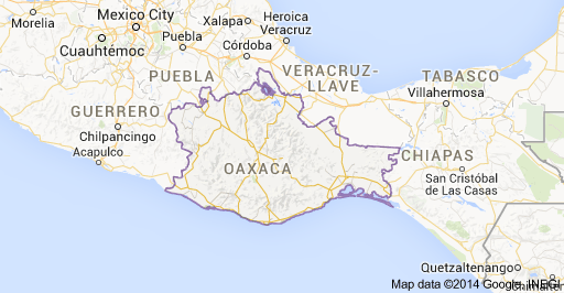 Map of Oaxaca, Mexico. This shows where Oaxaca is located within ...
