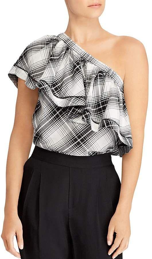 0943e5958e0 Lauren Ralph Lauren Plaid One-Shoulder Ruffle Top   Products   One ...