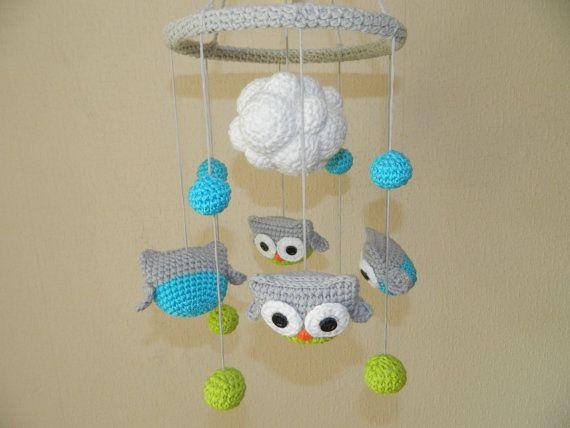 Amigurumi Sheep Baby Mobile : Baby mobile owl baby crib mobile owl nursery decor baby shower gift