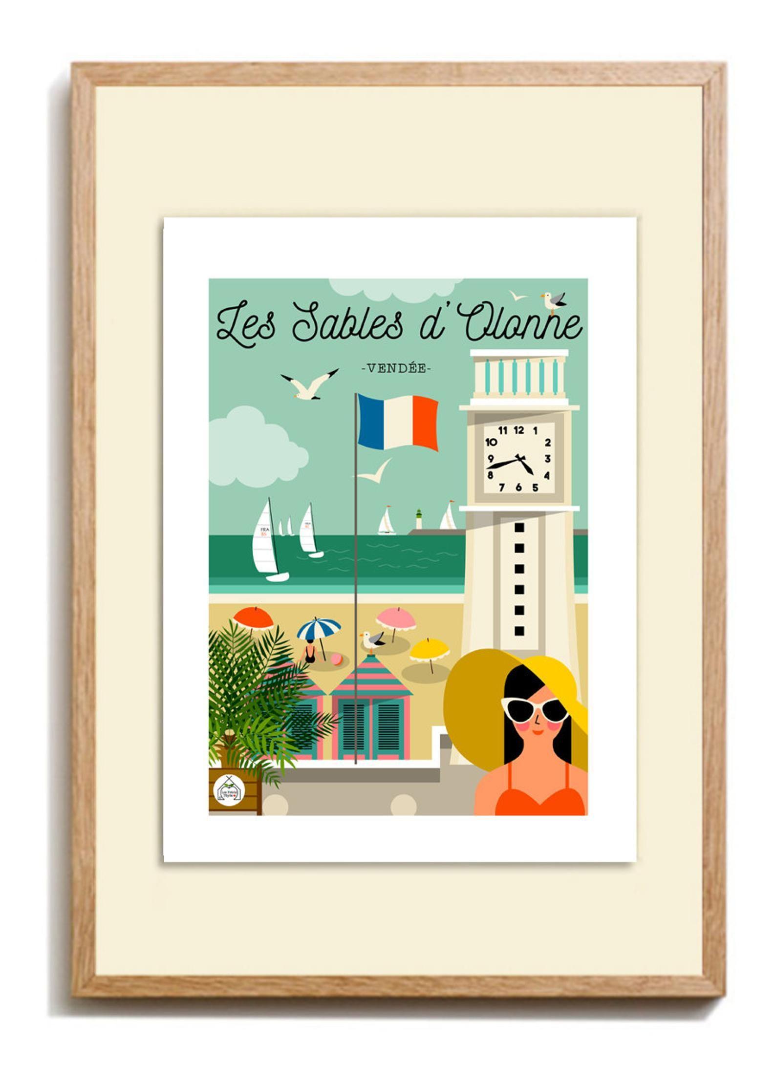 """Magasin Déco Les Sables D Olonne poster """"sands of new york"""" 30x40cm vendée. """"sea bath"""" series"""