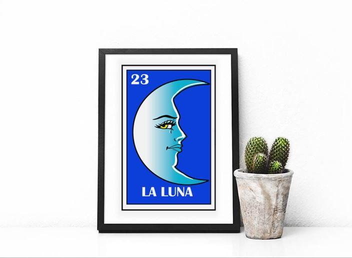 Mexican loteria  La Luna loteria  The moon loteria  Mexican moon  mexican  bathroom. Mexican loteria  La Luna loteria  The moon loteria  Mexican moon