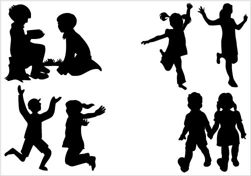 Children playing | Silhouette clip art, Kids silhouette ...