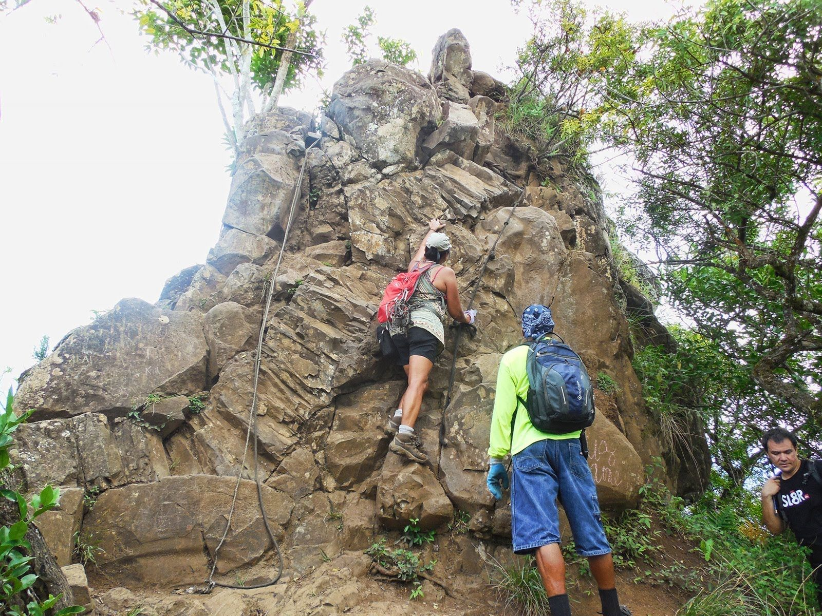 BEST hike EVER! Olomana Trail first peak with ropes! I made the mistake of wearing my flip flops or as the locals kept saying slippers oooops, I nver take a camera glad somone else did THANKS