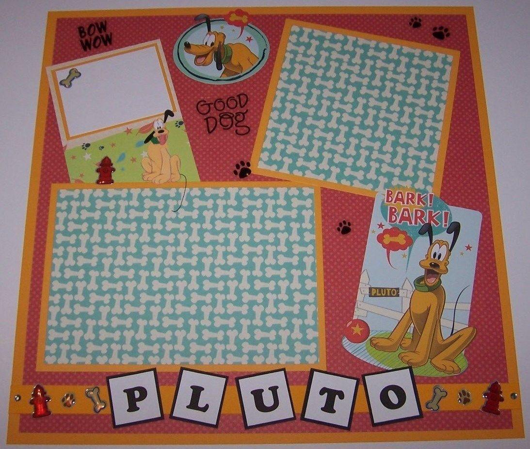 How to scrapbook disney - Premade Disney Scrapbook Page Pluto 2 Ebay