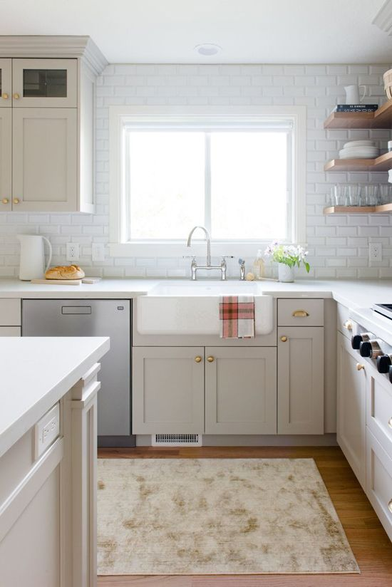 Greige Cabinets And Brass Hardware