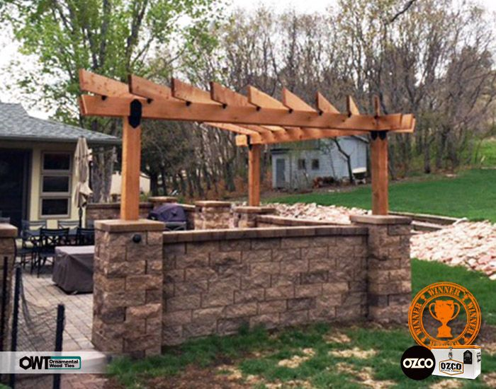 Love This Corner Pergola Over A Stoned In Outdoor Kitchen Ornamental Wood Ties Owt From Ozco Bring This Wood St Pergola Outdoor Pergola Pergola Plans Design