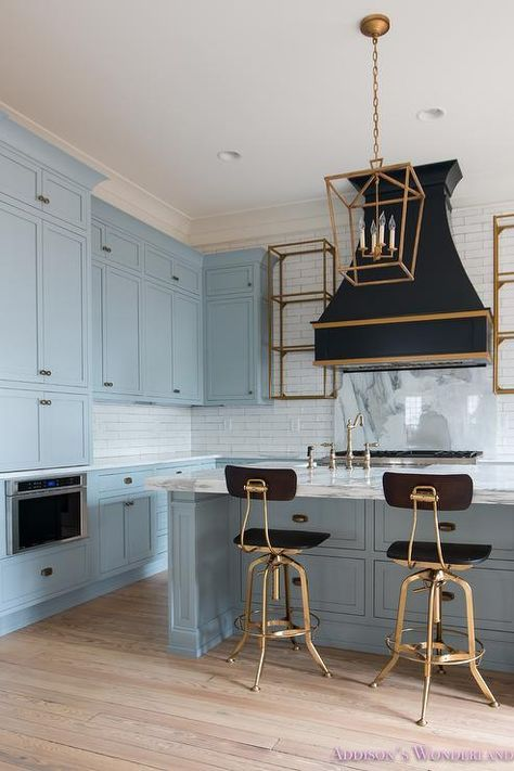 Blue Kitchen Features Blue Shaker Cabinets Painted In A Custom Color