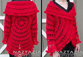 Crochet Red Circle Jacket Sweater Cardigan - Free Pattern from Garnstudio - Crocheted by Donna Wolfe from Naztazia