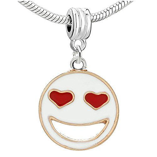 Enamel White/Red Smilling Face Charm Pendant