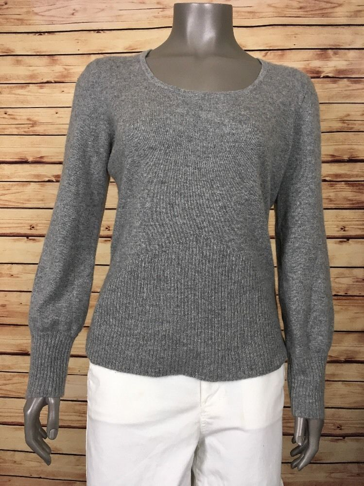 U-Knits 100% Cashmere sweater scoop neck womens pullover sz L Gray ...