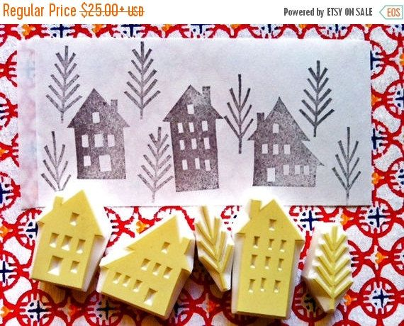 winter street rubber stamps. house hand carved rubber stamps. scandinavian village town. christmas scrapbooking. card making. set of 5