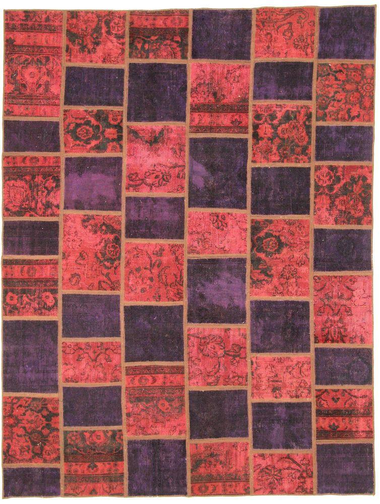 Orientteppich Patchwork Vintage modern Handgeknüpft 234 x