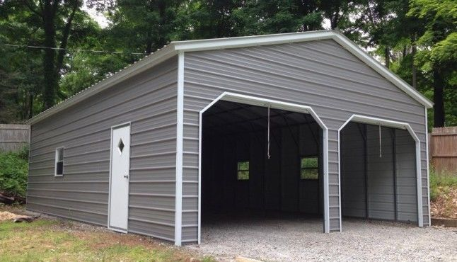 22 X 26 X 9 Metal Building Delivered And Installed Two Car Garage And Storage 6265 Delivered And Inst Metal Garages Metal Buildings Metal Garage Buildings
