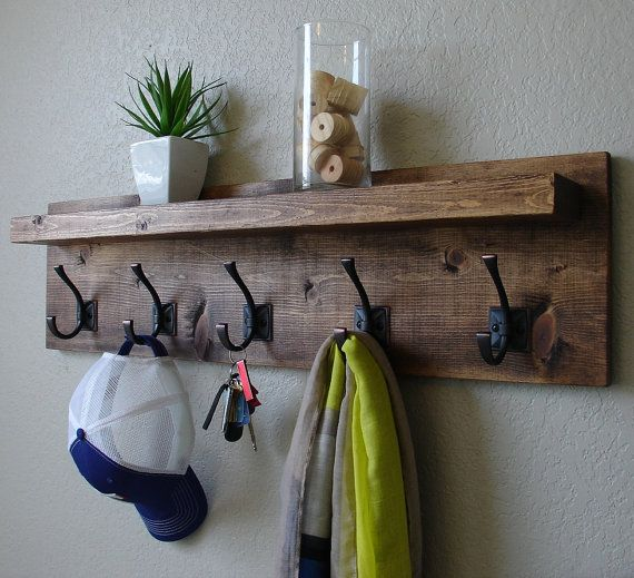 Corvallis Rustic Modern 5 Hanger Hook Coat Rack with Floating Shelf on Etsy, $115.00 perfect for the foryer