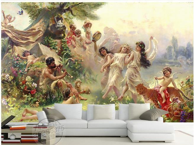 Hai una foto che ti piace? Foto Personalizzata Carta Da Parati Grande 3d Divano Tv Sfondo Murale Pittura Murale Angeli Dancing 3d Murale Carta Da Angel Wallpaper Painting Mural Wallpaper