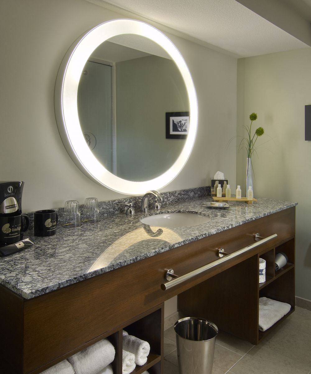 A Well Balanced Shape Sleek Lighted Border And Soothing Wall Glow Merge Together In A Breathtaking Mirror With Lights Bathroom Mirror Design Electric Mirror [ 1200 x 1000 Pixel ]