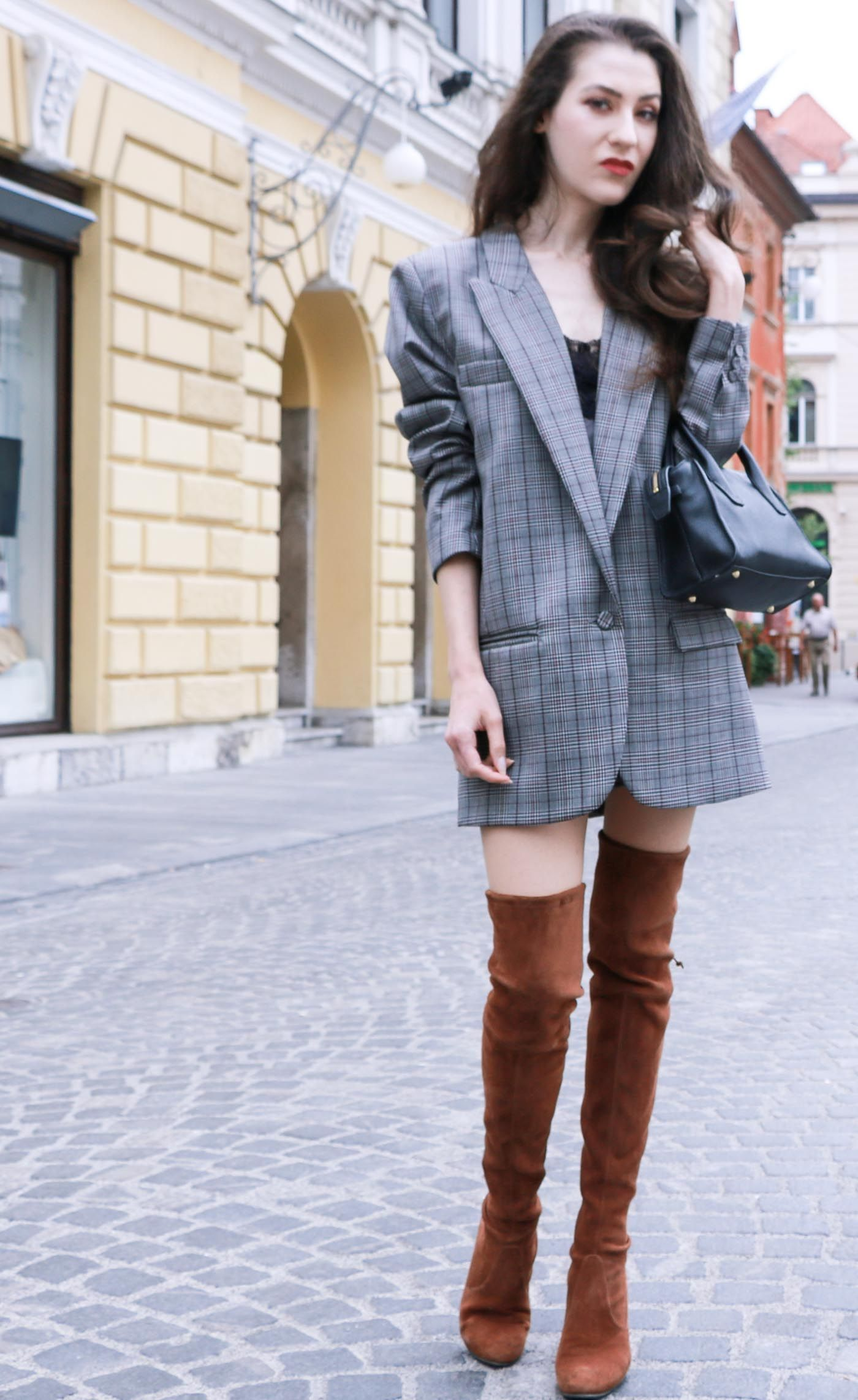 2c8480ea8b8 Fashion Blogger Veronika Lipar of Brunette from Wall wearing brown Stuart  Weitzman over the knee boots