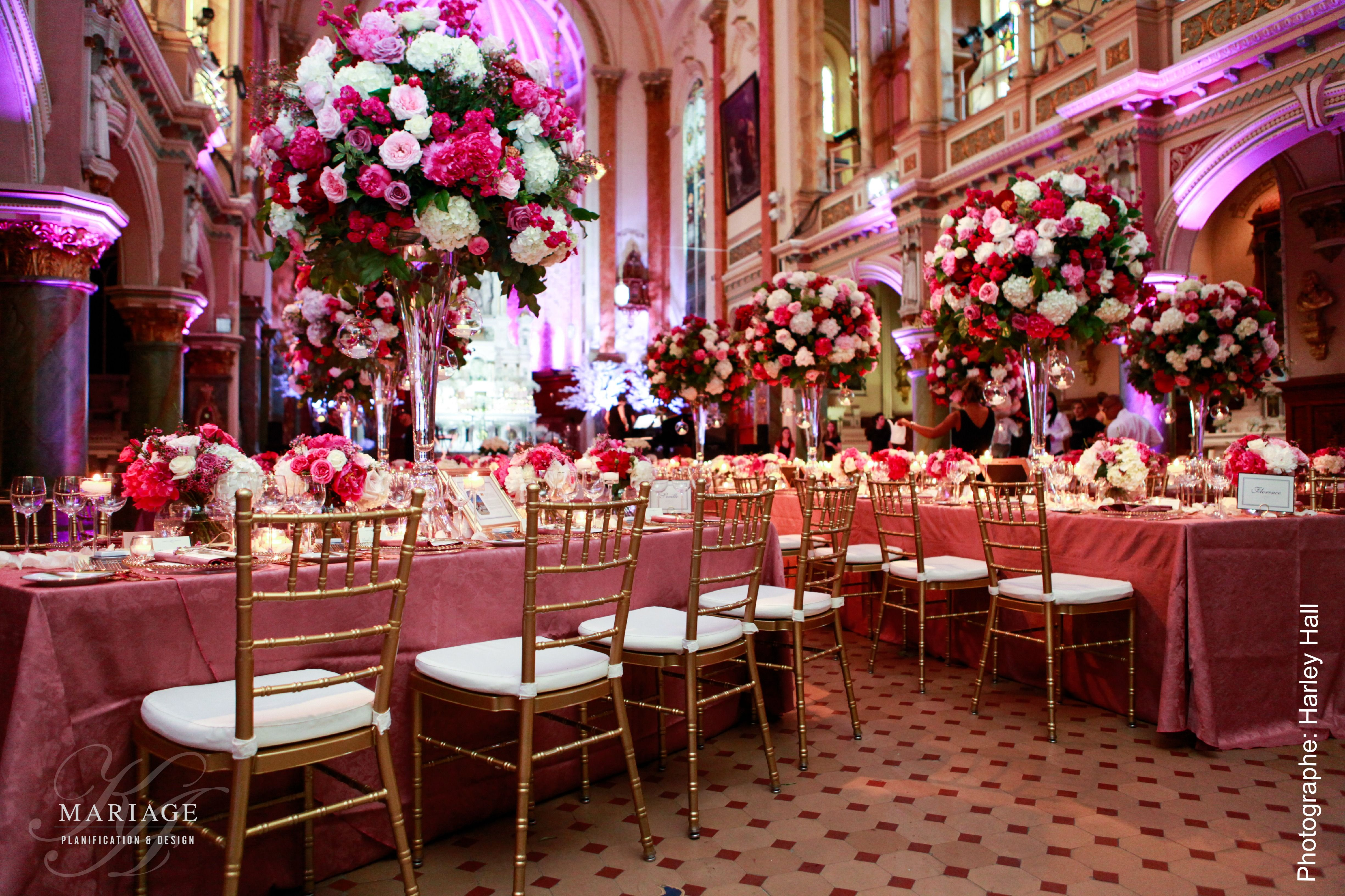 Gold And Pink Wedding Decor Photographer Harley Hall Flowers La
