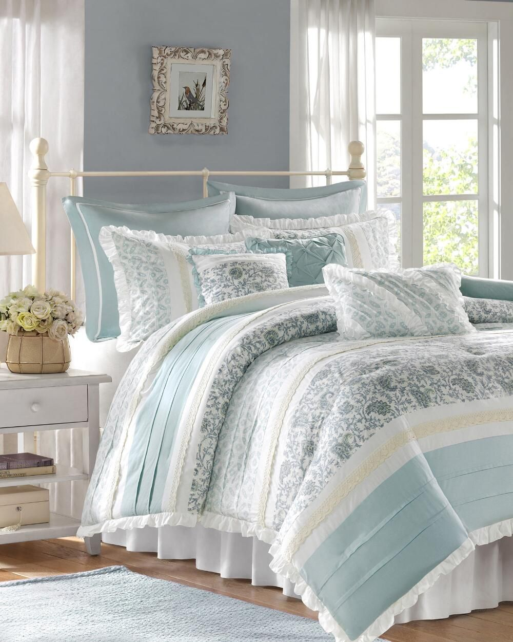 Madison Park 9 Piece Vanessa Cotton Percale Comforter Set Queen