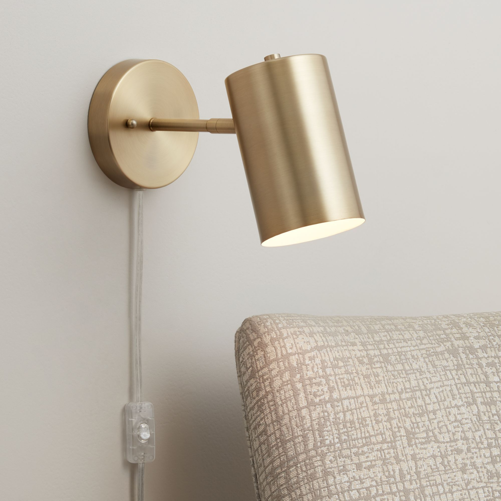 360 Lighting Modern Wall Lamp Polished Brass Plug In Light Fixture Adjustable Cylinder Down Shade For Bedroom Living Room Reading Walmart Com Plug In Wall Lamp Modern Wall Lamp Wall Lamp