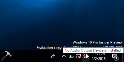 windows 10 no audio device is installed