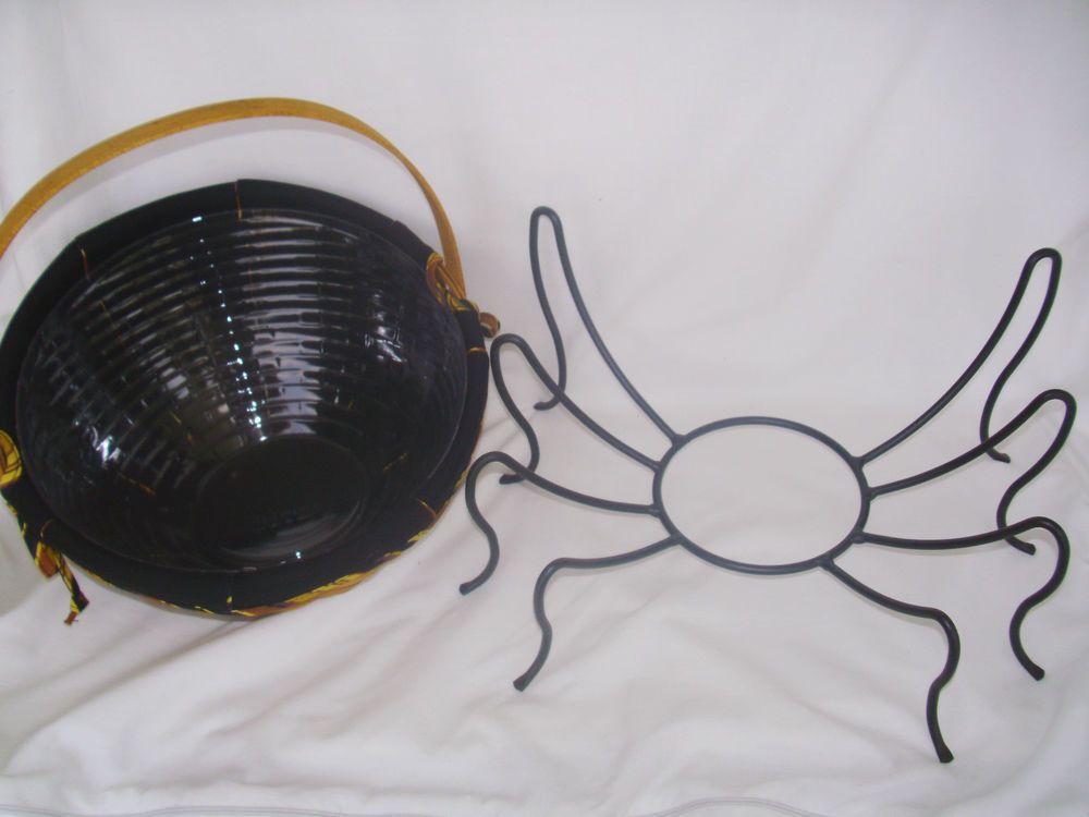 Small Autumn Treats Basket Wrought Iron Spider Legs Halloween Fall Longaberger