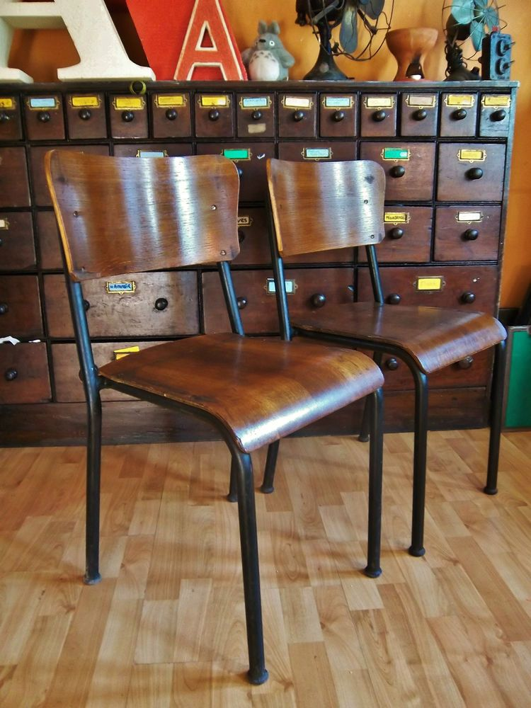 Vintage Industrial Retro Old School Metal Ply Stacking Table Dining Chair X  2