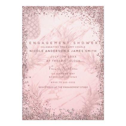 Pink Rose Gold Glitter Pineapple Engagement Card Rose gold - engagement card template