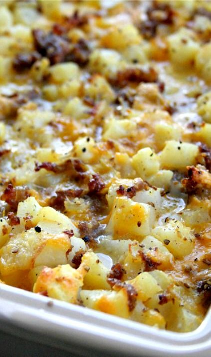 Cheesy Potato Breakfast Casserole Recipe – We love this easy breakfast casserole!