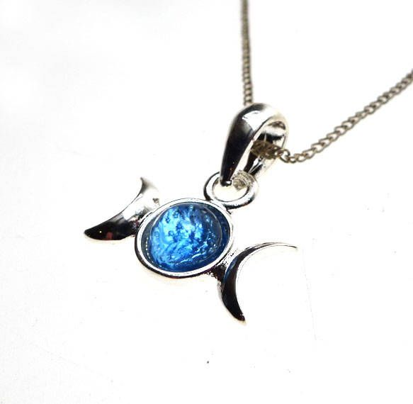 Triple moon pendant necklace blue moon jewelry triple goddess silver triple moon necklace blue moon goddess jewelry triple goddess pendant necklace p0780 nk by silverenchantments on etsy aloadofball Images