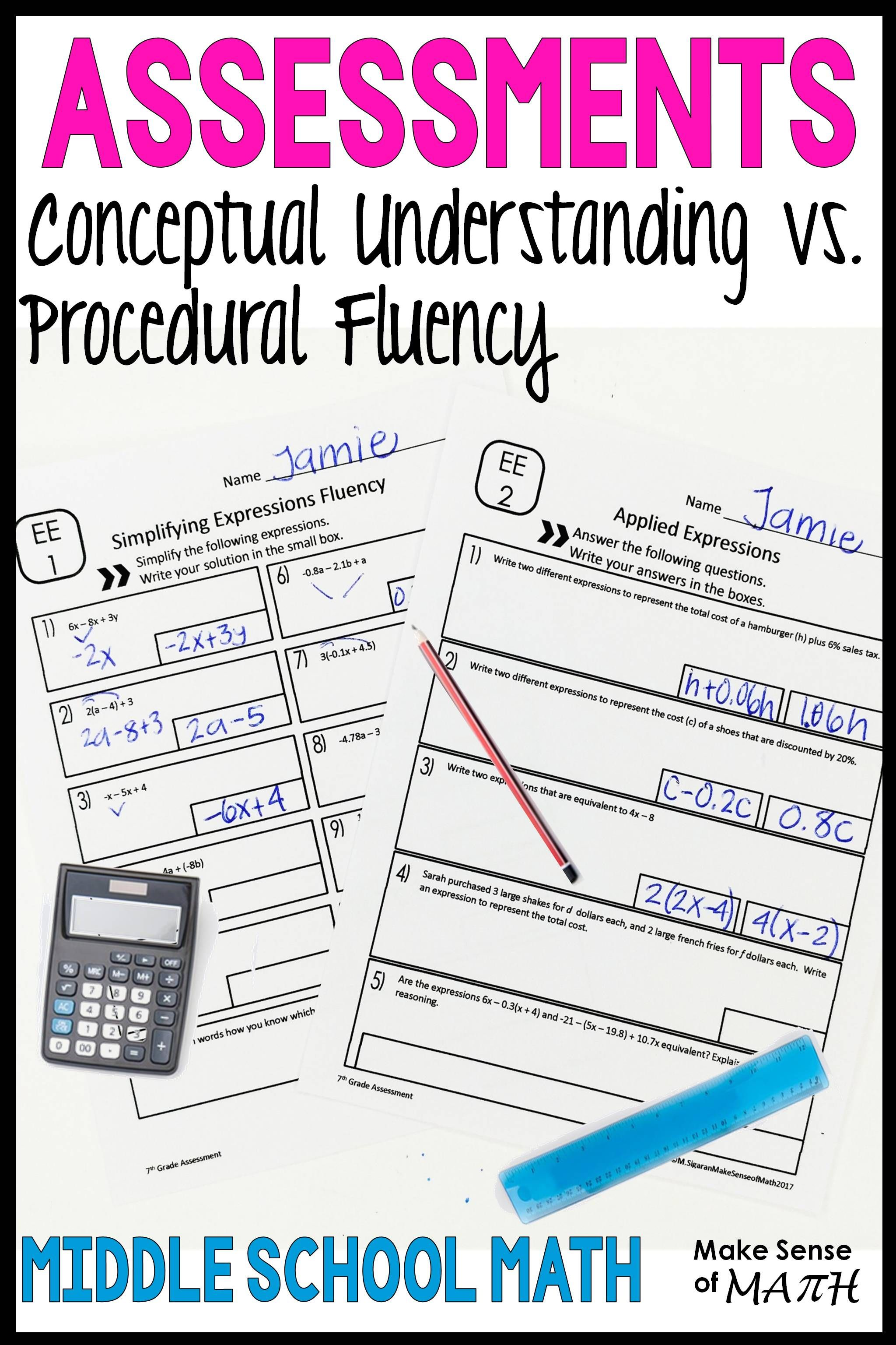 Assessments Conceptual Understanding Vs Procedural