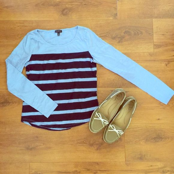 Knit, crewneck blue/navy striped tee! This Talbots blue/navy striped knit tee is a must-have for your everyday wardrobe. Worn only three times! Talbots Tops Tees - Long Sleeve