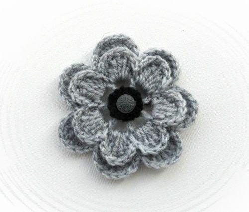 Crochet Brooch Applique Grey Acrylic Flower With Button Crochet