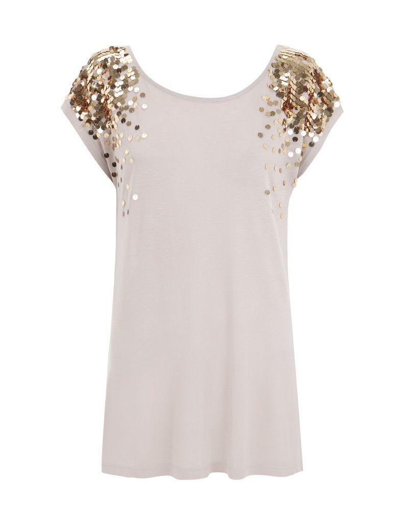 022cbeeef3db6 Blanco.es Sequin Shirt, T Shirt, Nude Shirt, Silk Top, Casual