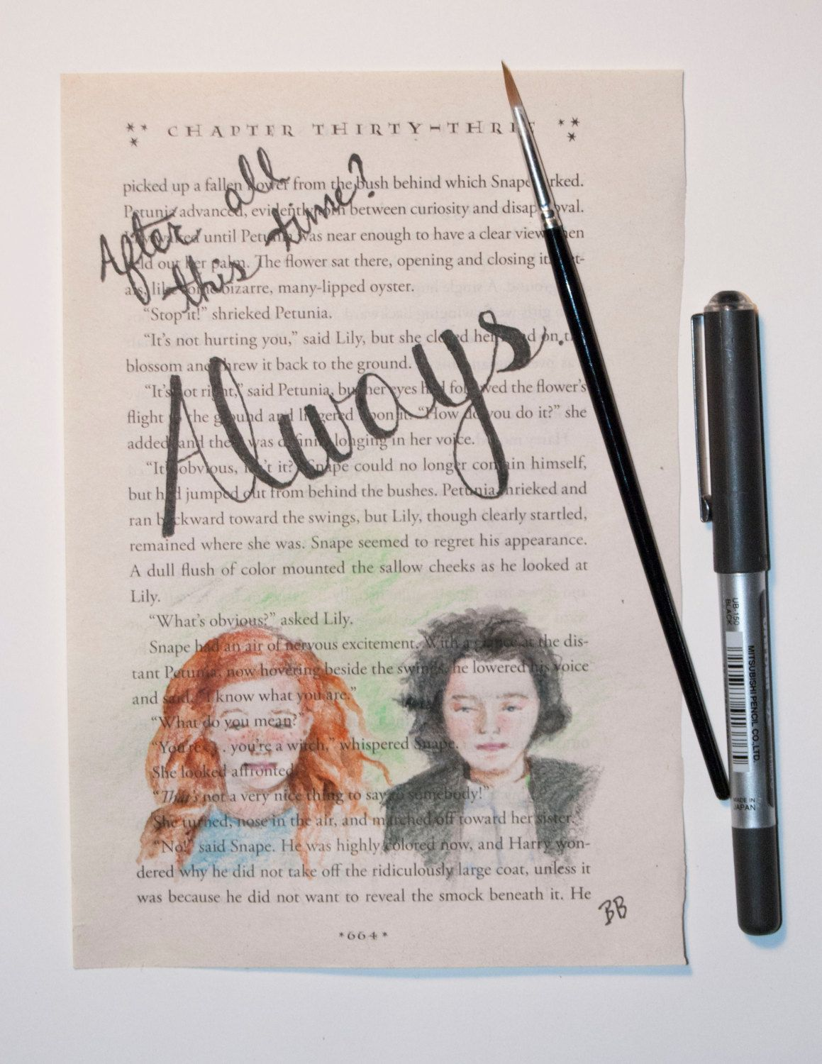 Original Watercolor Harry Potter Book Page Snape Lily Snape And Lily Harry Potter Magic Harry Potter Drawings