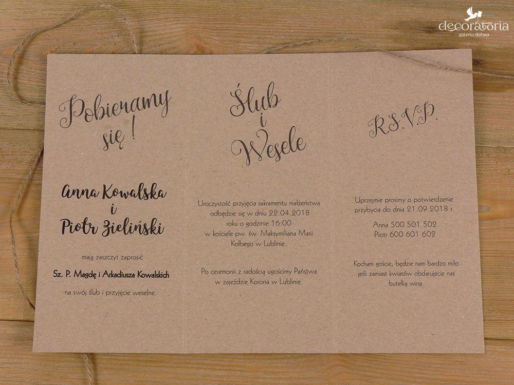 Eco wedding invites Zaproszenia ślubne papier ekologiczny i