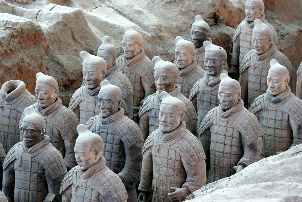 Terra Cotta Warriors in Xi'an, Shaanxi Province. This wonder of China was discovered in 1974 while digging a well in the city of Xi'an.