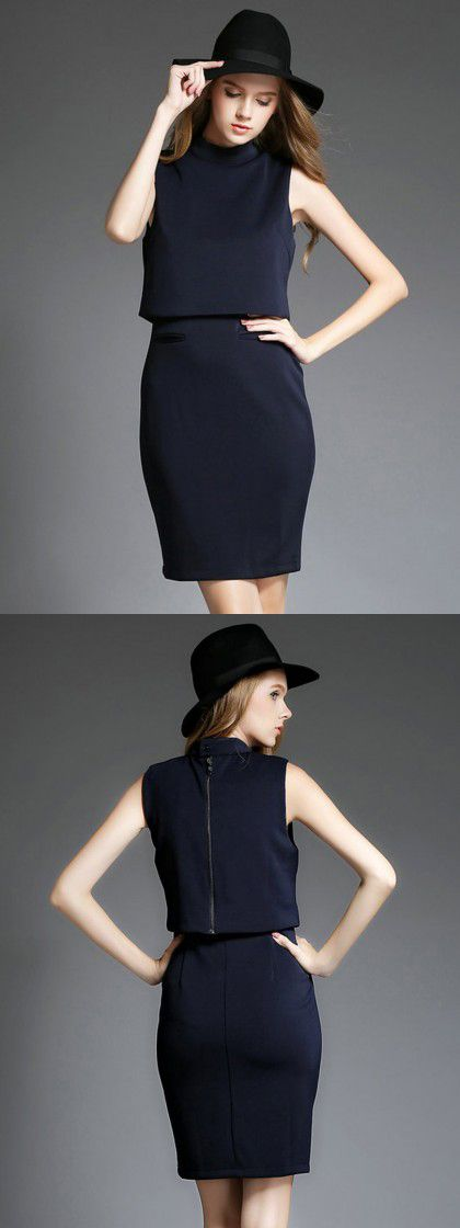 Black High Neck Two Layer Sleeveless Bodycon Dress-CHOIES